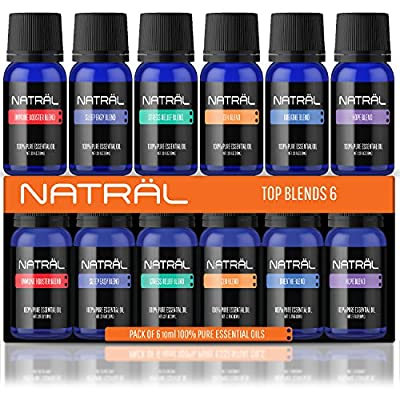 NATRÄL Top Blends Set of 6, 100% Pure and Natural Essential Oil, 6/10ml Bottles