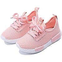 Daclay Zapatos niños Niñas Deportivo Transpirable Malla con Parte Superior de Cuero cómoda Suave Cordones Zapatillas…