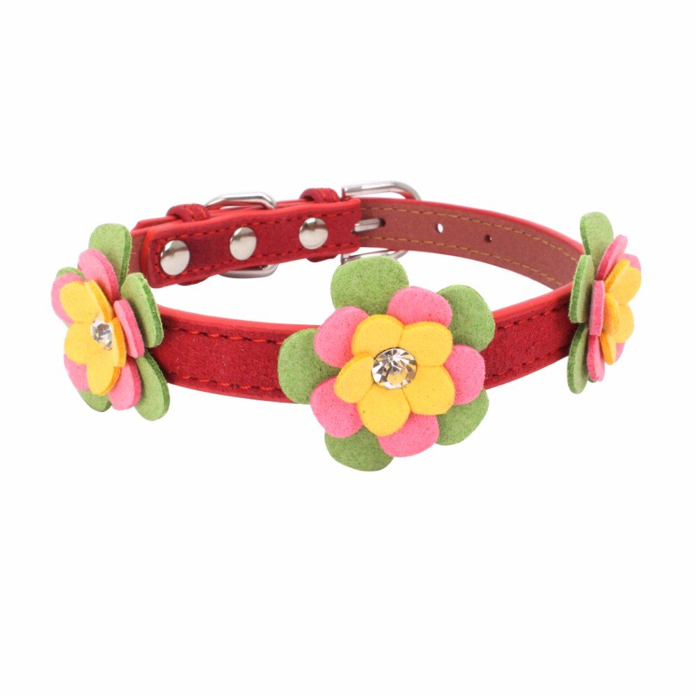 Exquisite Adjustable Woven Diamond Flower Dog Puppy Pet Collars Water Drill Knitted Dog Collar For Small Dogs Cats Cute Collar For Girls And Boys Collar Pet Cat Dogs Puppy Necklace (Red, S)