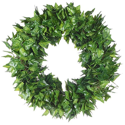 Lvydec Artificial lvy Leaf Wreath - 16.5 Inch Artificial Wreath Green Leaves Summer Wreath for Front Door Wall Window Decoration by Lvydec