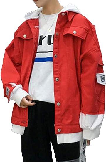 (BaLuoTe)デニムジャケット メンズ ジージャン ダメージ加工 ビッグシルエット 上着 カコイイ コート ジャケット おしゃれ アウター