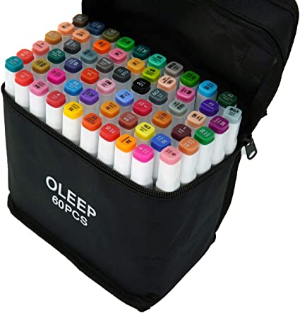 OLEEP 80 Colores Rotuladores de doble punta para pintar y resaltar con funda de transporte