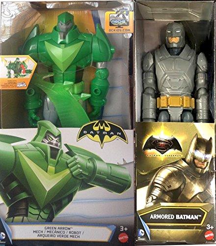 """Batman v Superman: Dawn of Justice Armored Batman Figure VS Green Arrow Mech Robot 12"""" DC Universe Series 12 inch Action Figure Double 2-Pack Bundle"""