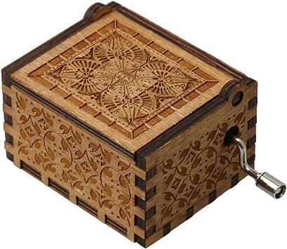 Yibuy Caja de música de madera tallada a mano, caja musical ...