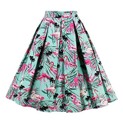 Killreal Women's Knee Length Flamingo Leaf Print Casual Flare Pleated Skirt Green X-Large