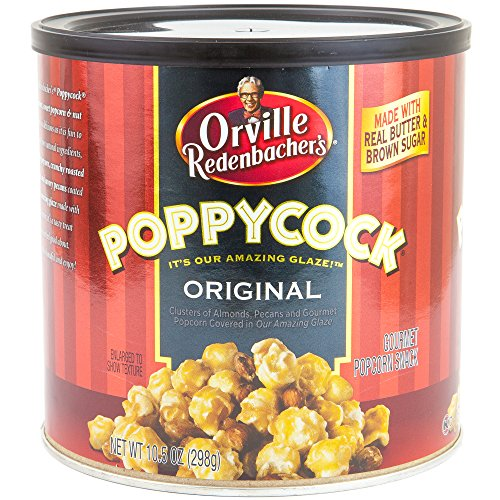 Orville Redenbachers Poppycock Gourmet Popcorn Snack 10.5 Oz Can   Original Clusters of Almonds, Pecans & Gourmet Popcorn   Made With Real Butter & Brown Sugar   Holiday Gift Set (Original)