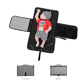 Mallalah Cambiador de pañales portátil para bebés Estante de cambio de pañales con cojín para la cabeza Estera liviana de viaje y casa con bolsillos - ...