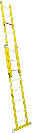 Escalera transformable de fibra de vidrio. Permite su uso en tijera y extensible. Según norma UNE-En 131 y 50528. (2 tramos x 8 peldaños): Amazon.es: Bricolaje y herramientas