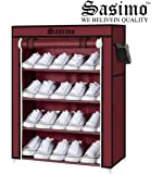 Sasimo Multipurpose Portable Folding Shoes Rack/Shoes Shelf/Shoes Cabinet,Easy Installation Stand for Shoes(Shoes Rack) (4-Maroon)