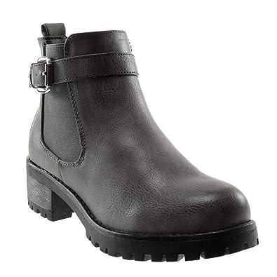 Lanière Femme Chaussure Mode Chelsea Bottine Boots Angkorly Motard qH70w7z