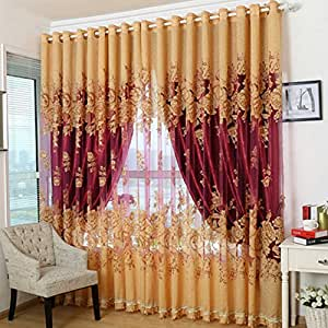 Jacklook country floral living room polyester for B q living room curtains