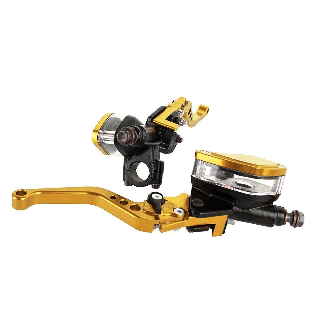 Ensemble de levier dembrayage de frein hydraulique de moto CNC en aluminium de 7//822mm avec r/éservoir ma/ître cylindre argent