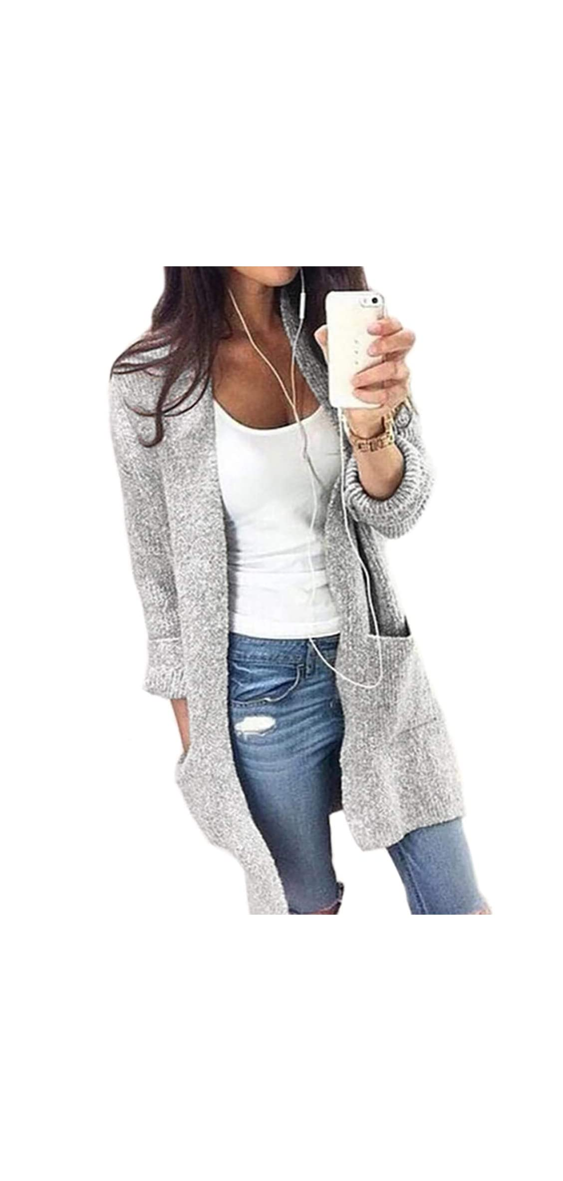 Women's Open Front Loose Causal Cable Knit Long Jacket