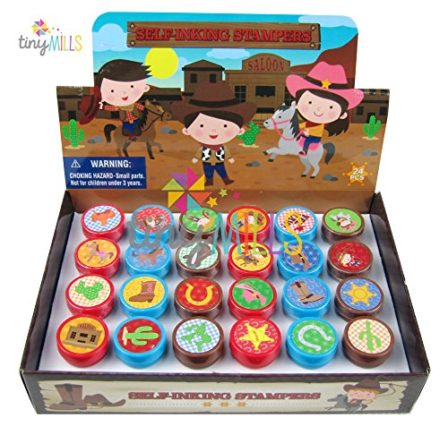 24 Pcs Western Cowboy Cowgirl Stampers for Kids (Kid Cowboy Party Favors)