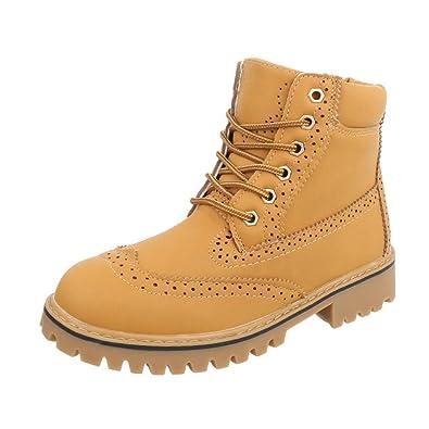 Cingant Woman Damen Boots/Stiefelette/Outdoor Schuhe/Profilsohle/Schnürstiefelette/Camel/Braun, EU 36