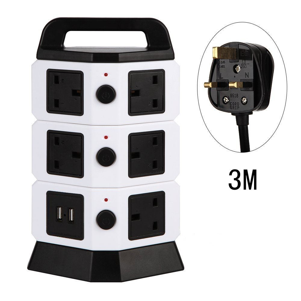3M/9.8ft Extension Lead, HowiseAcc 8 Way Outlets 2 Smart USB Ports Tower Vertical Multi Socket Power Strip Adapter with Overload Protector and Ceramic SPD