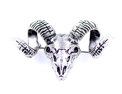 Ram Skull Pin Badge Zodiac Jewellery Sheep Head Animal Brooch