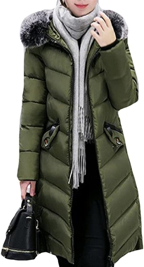 Unastar Women Zipper Warm Wool Thick Fit Hood Mid-Long Trench Coat Jacket