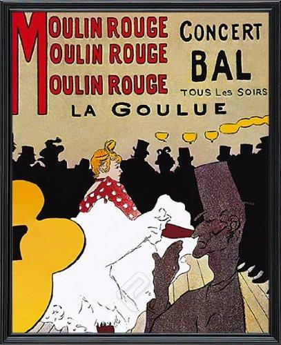 EuroGraphics Moulin Rouge Concert Bal, La Goulue by Henri De Toulouse-Lautrec Framed Fine Art Poster Custom Made Real Wood Classic Black Frame (17 1/8 x 21 1/8) ()