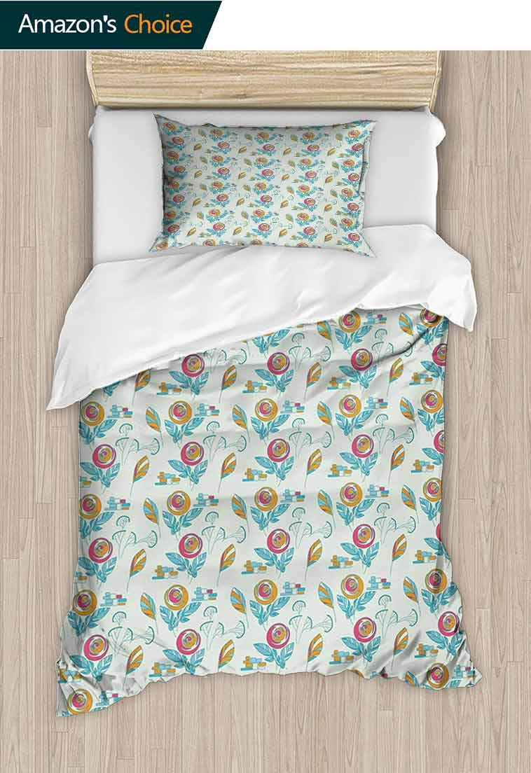 Flower Custom Made Quilt Cover and Pillowcase Set, Artistic Circular Blossoms Herbs Leaves and with Geometrical Elements, Decorative 2 Piece Bedding Set with 1 Pillow Sham, 79 W x 90 L Inches by carmaxshome