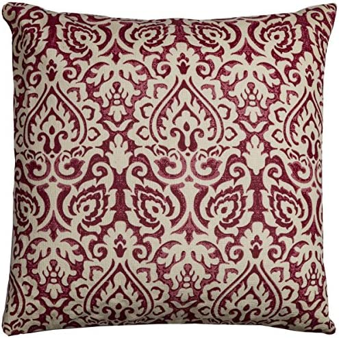 Rizzy Home Dulane Damask Decorative Pillow, Red
