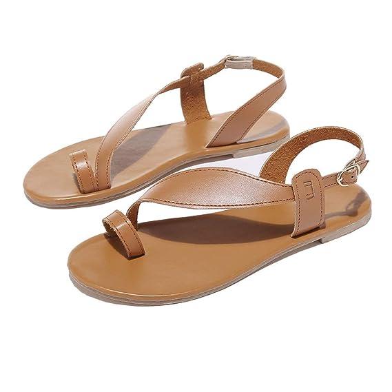 Darringls_Sandalias de Primavera Verano Mujer,Zapatos de Plataforma Plana Zapatos con Cuentas Playa Sandalias Romanas Sandalias Casuales Zapatos de Playa ...