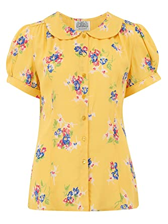 0ba3bd5a05a51 The Seamstress of Bloomsbury Jive Blouse in Mimosa Print 1940's Authentic  Vintage Style Clothing (UK