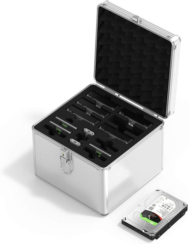 ORICO Fundas para Disco Duro Maleta de Aluminio de 15 Bahías para Proteger o Almacenar HDD SSD (6 x 3.5'' y 6 x 2.5'' de Disco Duro y 3 x M.2 SSD), Prueba de Golpes, Prueba de Polvo y Humedad
