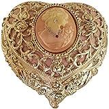 Heart Shaped Cameo Musical Jewelry Box crystallized with Swarovski elements playing Bolero