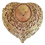 Heart Shaped Cameo Musical Jewelry Box crystallized with Swarovski elements playing Bolero