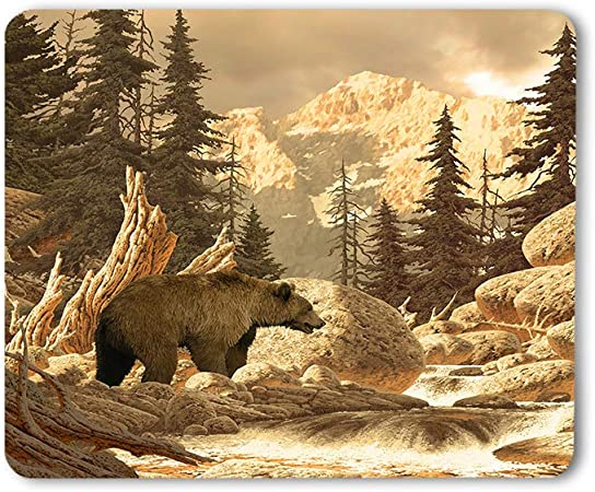Natural Gaming Mouse Pad Yellowstone,Lake Forest Nature 7.9x9.5 inch for Gaming
