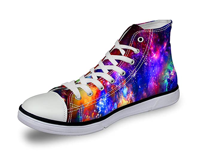 dea6ef1b3d809 Women Basic Canvas High Top Shoe Colorful Galaxy Print Girl School Flat  Sneaker