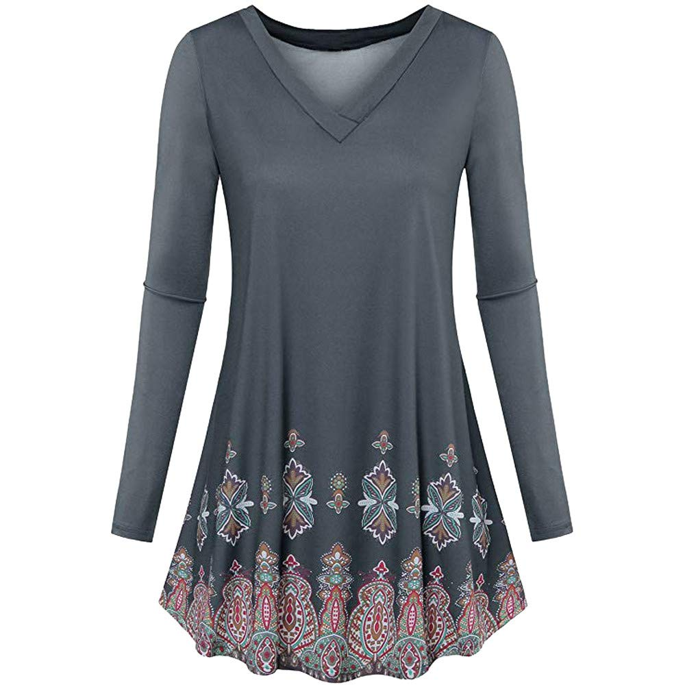 vermers Women Tunic Tops Clearance - Womens Fashion Long Sleeve Floral Print Flowy Blouse Loose Casual T Shirt