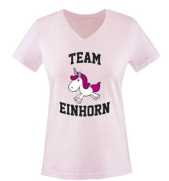 Team Einhorn - Damen V-Neck T-Shirt  Amazon.de  Bekleidung 80075cebc1