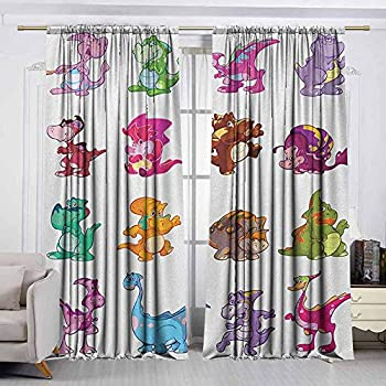 Image of AndyTours Balcony Curtains,Jurassic,Waterproof Patio Door Panel,W108x108L Inches Multicolor