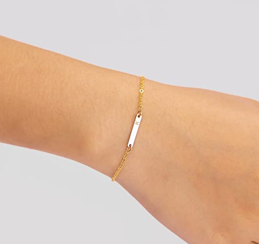 4c960a90323 Personalized Tiny Horizontal Rectangle Skinny Bar Name Bracelet, Simple  Delicate Mothers Jewelry in 14K Rose Gold fill or 14K Gold fill or 925  Sterling ...