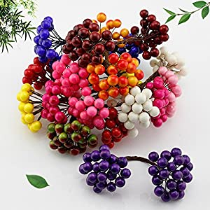20Pcs/40 Head Mini Fake Fruit Glass Berries Artificial Pomegranate Red Cherry Bouquet Stamper Christmas Decorative Double Heads 59