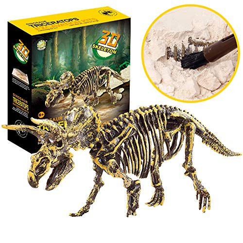 QIKI Science Educational Dinosaur Fossil Dig Kit Toys for Kids, Kids Dinosaur Fossil Digging Excavation Tools Included Hammer, Chisel, Brush ()