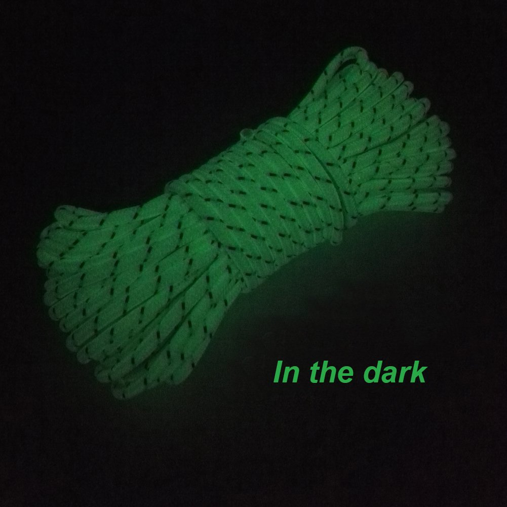 5mm 65.6ft//20m Highly Reflective Tent Rope With 10 Aluminum Adjusters//Tensioners LILUO Glow in the Dark Luminous Reflective Guyline
