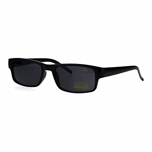 48ee6810128 Image Unavailable. Image not available for. Color  All Black Narrow  Rectangular Thin Plastic Mens Minimal Mod Sunglasses