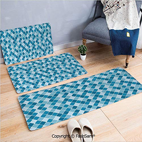 3 Piece Flannel Bath Carpet Non Slip Harlequin Winter Theme Pattern Elongated Squares Aquatic Colors Antique Italian Decorative Front Door Mats Rugs for Home(W15.7xL23.6 by W19.6xL31.5 by W17.7xL53) ()