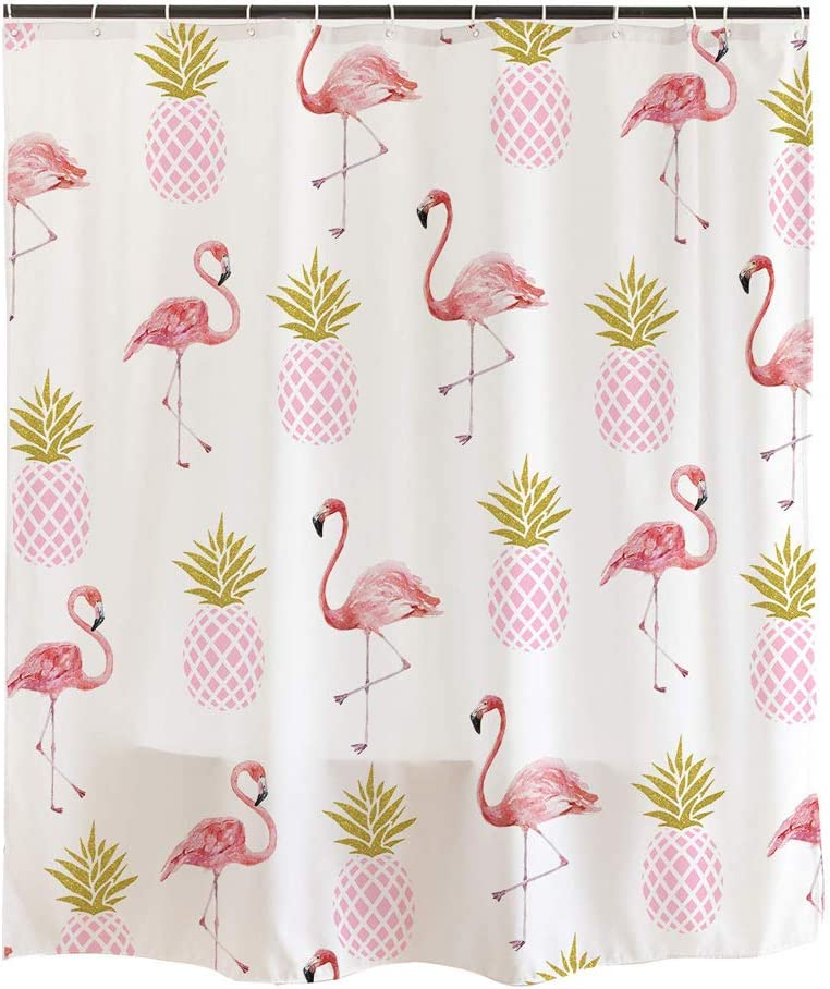 Ofat Home Simple Cute White Shower Curtain,Pink Flamingos Gold Pineapples ,Retro Style Bathroom Decor with 12 Hooks,72x72 inch