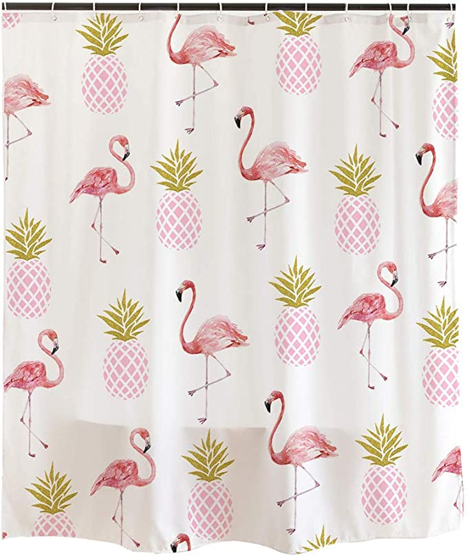 Ofat Home Simple Cute White Shower Curtain Pink Flamingos Gold Pineapples Retro Style Bathroom Decor With 12 Hooks 72x72 Inch 90gsm Home Kitchen Amazon Com