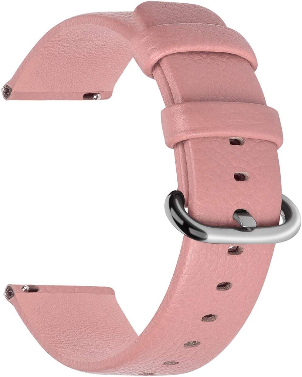 Fullmosa Uli Piel Correa Reloj, 12 Colores para Correa/Banda/Pulsera/Strap Reloj Huawei/Samsung/Recambio/Reemplazo 18mm 20mm 22mm 24mm, Rosa 18mm