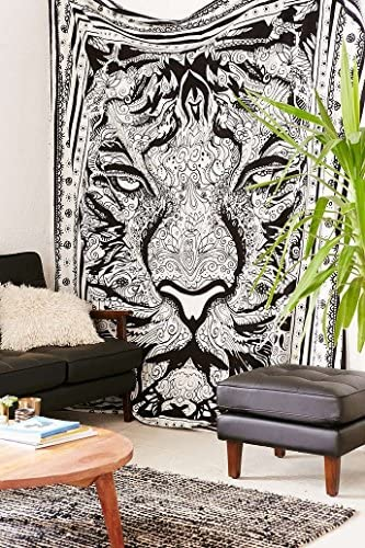 traditional mafia Exclusive Leo Tiger Tapestry, Indian Mandala Art, Hippie Wall Hanging, Bohemian Bedspread, 85 x 90 , Black White