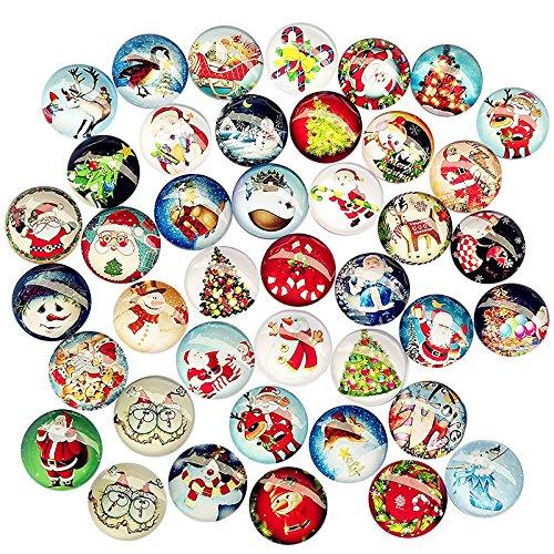 Dandan DIY 20pcs 25mm(1) Assorted Styles Christmas Snow Man Tree Claus Jingle Bell Glass Button Flatback Flat Backs Button Glass Cameo Cabochon Phonecover Scrapbooking Diy Craft