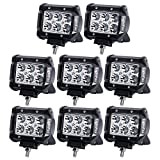 Lightfox 8Pcs 18W 4Inch Spot LED Light Bar CREE LED Pod Fog Lights Square Cube Jeep Driving Work Lamp for Offroad Truck 4WD SUV ATV UTV Daytime Running Light Waterproof, 1 Year Warranty