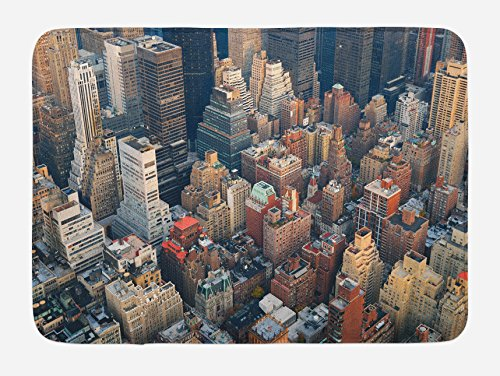 Decor Scene Street (Lunarable NYC Bath Mat by, Manhattan Skyline Aerial View with Street and Skyscrapers Avenue High Buildings Scene, Plush Bathroom Decor Mat with Non Slip Backing, 29.5 W X 17.5 W Inches, Multicolor)