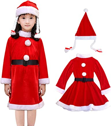 Childrens Fancy Dress Christmas Santa Claus Costumes Kids Santa Outfit Full Set