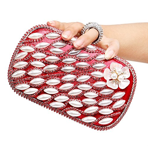 Embrayages Design Diamants Sac Sacs Mariage TuTu red Sac Perles Fleur de Soirée Soirée Bague de C8qFZdw
